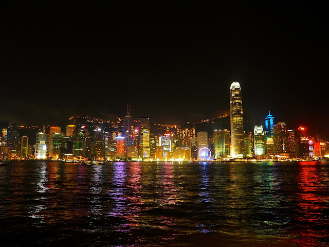 Hong Kong skyline across Victoria Harbour at night