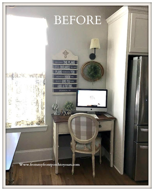 Breakfast Nook Makeover-Desk- Area-Vintage-From My Front Porch To Yours
