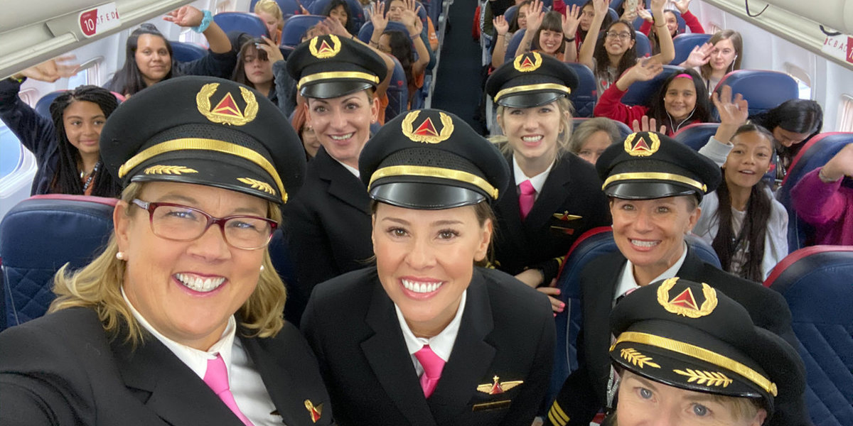 All-Female Delta Crew Flew 120 Young Women To NASA