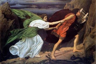 Orfeo che porta Euridice fuori dagli inferi dopo aver suonato la sua lira per Cerbero. Dipinto di Edward Poytner, 1862.