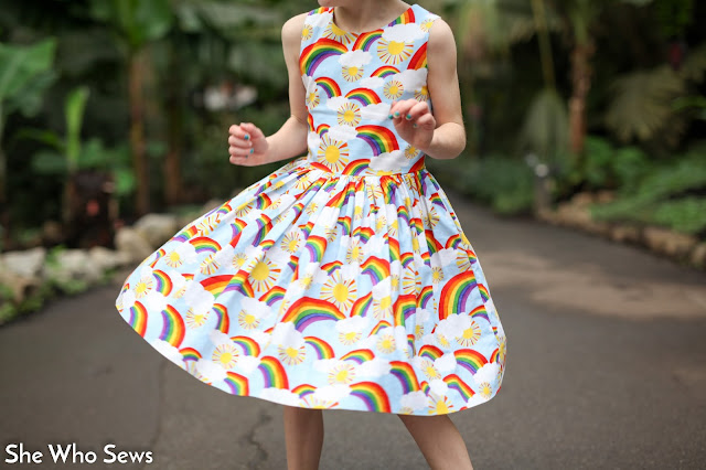 Twirly rainbow dress