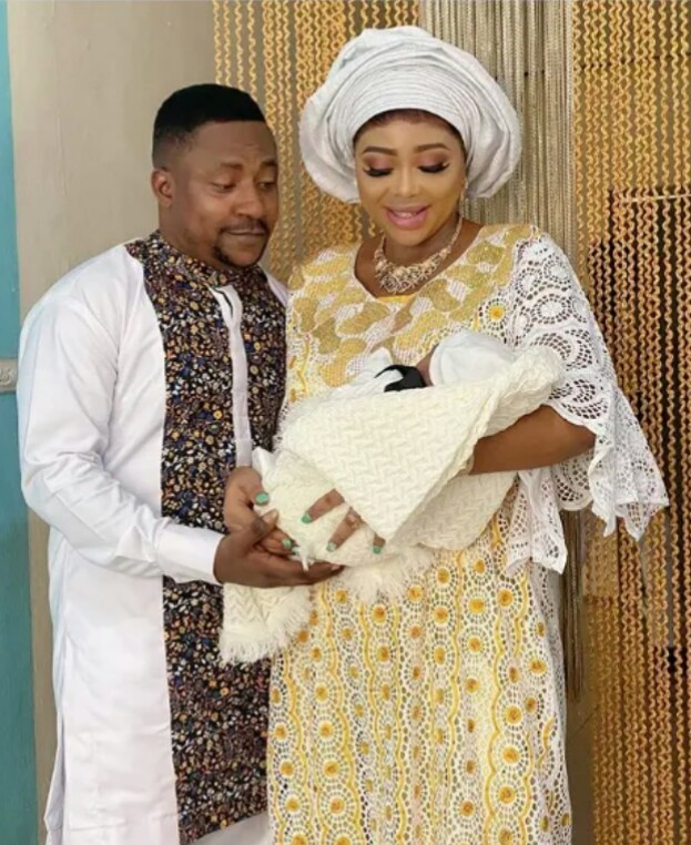 Yoruba actor 'segun ogungbe' with two wives welcome  new baby boy.