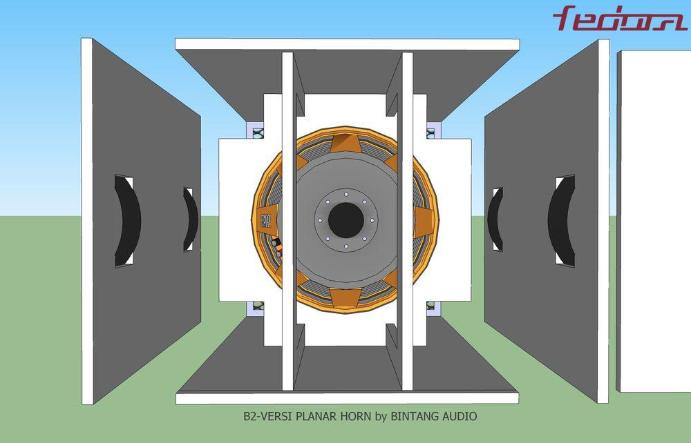 Sisi belakang full skema box planar horn