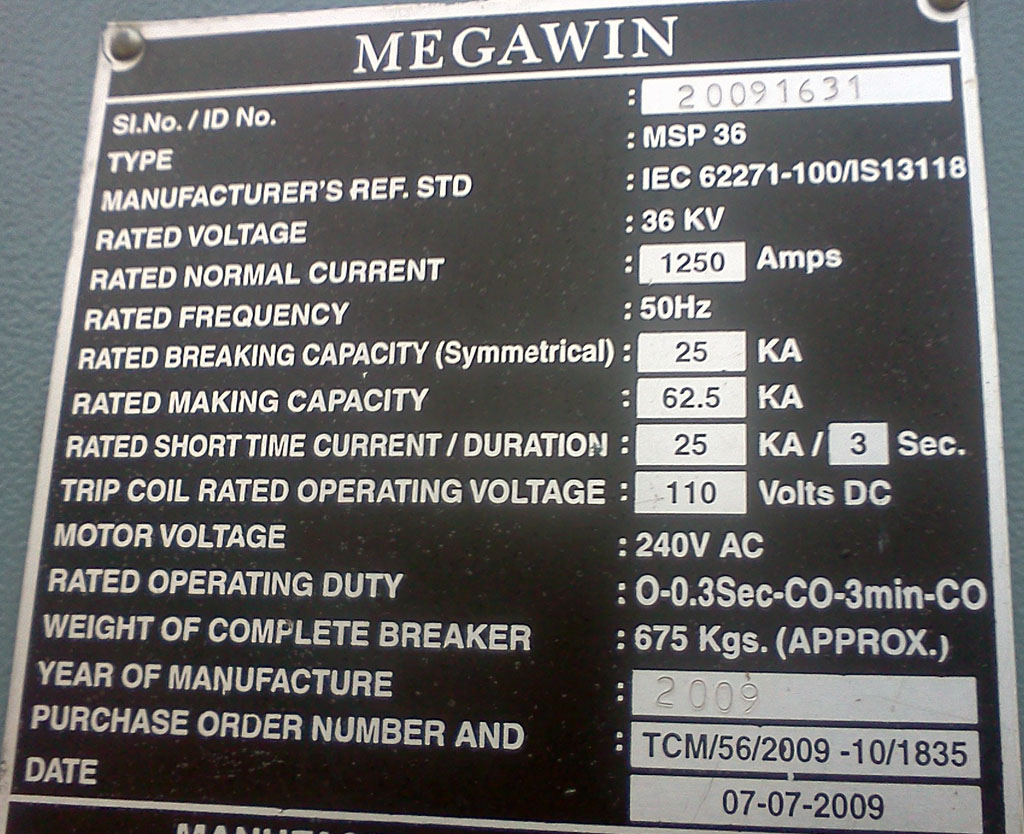 Electrical Engineering From Field Name Plate Examples