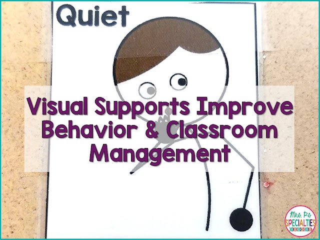 Visual supports are LIFE in special education programs! They are helpful for both the students and the staff in the classroom. Here are some tips on ways to use visual supports to improve behavior and classroom management.