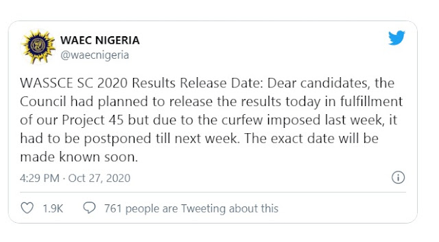Breaking! WAEC Set New Date for the Release of the 2020 WASSCE Results
