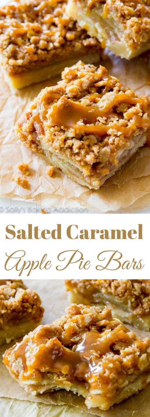 Salted Caramel Apple Pie Bars #apple #dessert
