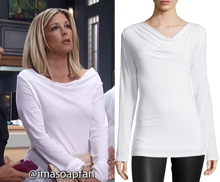 Carly Corinthos, Laura Wright, White Drape Neck Top, General Hospital, GH