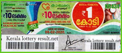 Kerala Lottery Result 08-02-2020 Karunya KR-434 (keralalotteryresult.net)