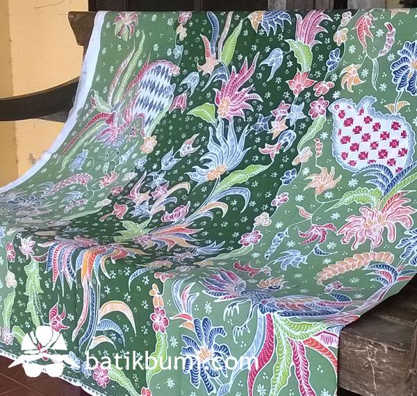 Kain Batik TULIS motif Buketan Hijau