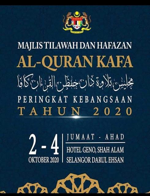 Majlis Tilawah dan Hafazan Al-Quran KAFA Peringkat Kebangsaan Tahun 2020