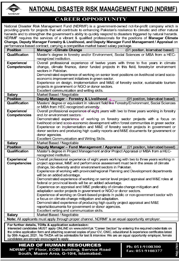 Latest Jobs in National Disaster Risk Management Fund NDRMF 2021