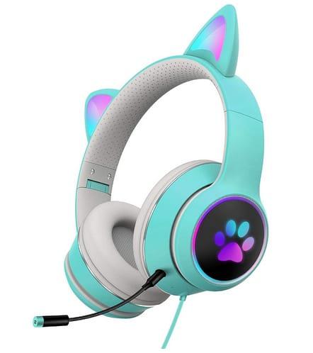 HONUTIGE Gaming Headset Cat Ears with RGB LED Light