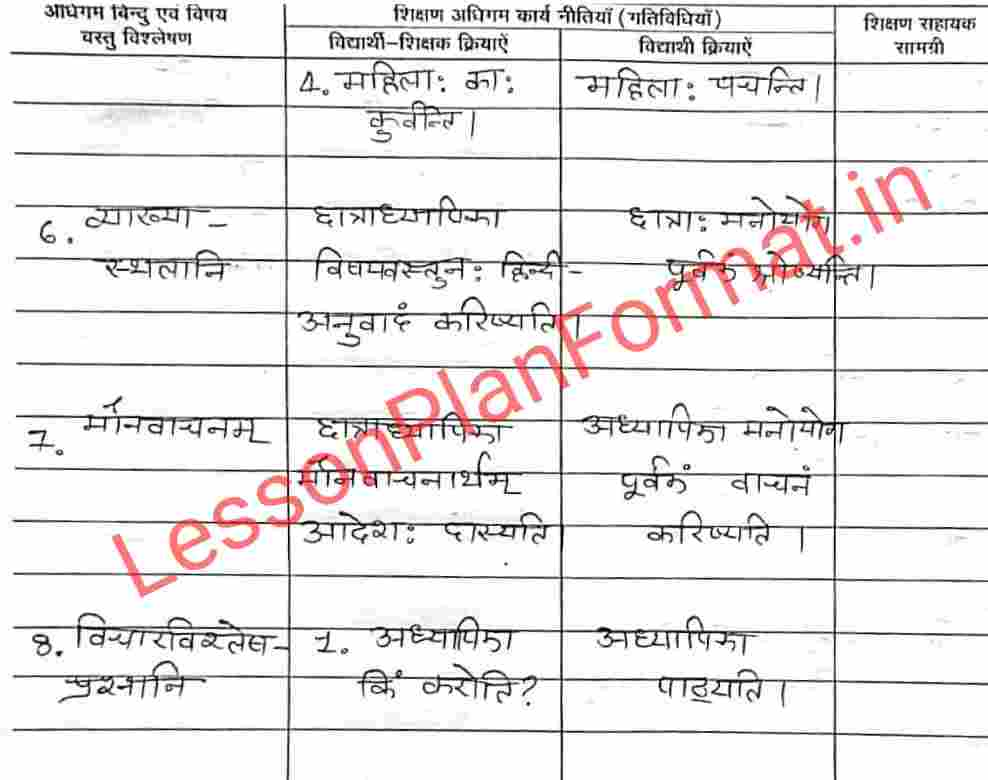 B.ed Lesson Plan in Sanskrit Class 8