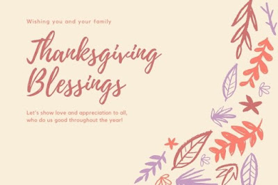 Wish you and your family thanksgiving blessing written on flower decorated background.