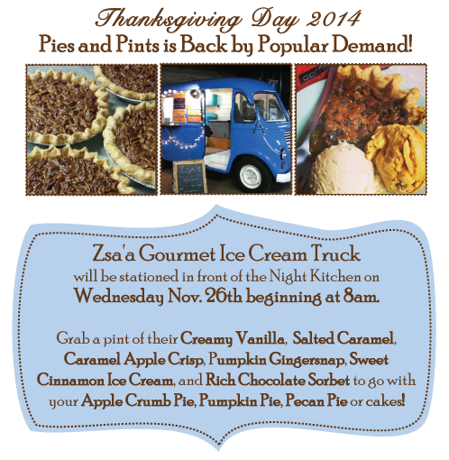 Wednesday November 26, 2014, Pick-Up Your Orders, Then Blend Your Pies with Zsa Pints