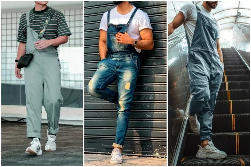 Men's dungarees/overalls fashion With short-sleeves crewneck t-shirt.