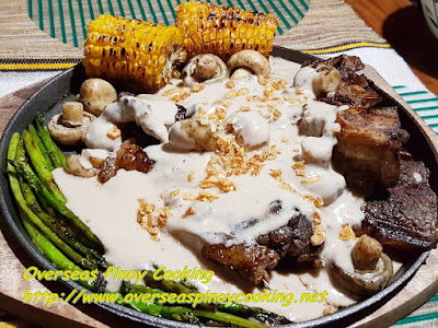 Sizzling Grilled Tagaytay Beef T-Bone Steak with Mushroom Sauce