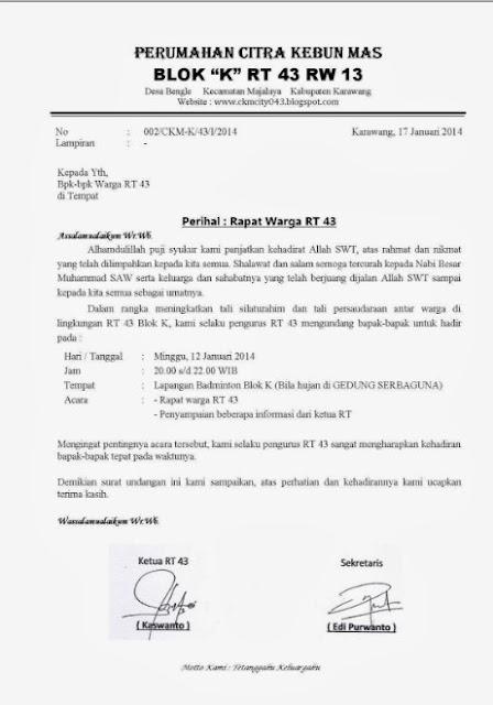 Contoh Surat Undangan Resmi Singkat (via: hendrayulianto.com)