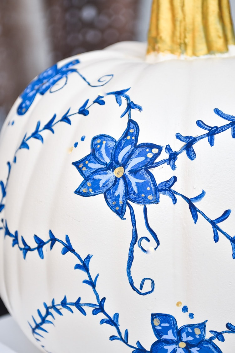 Blue and white painted pumpkin