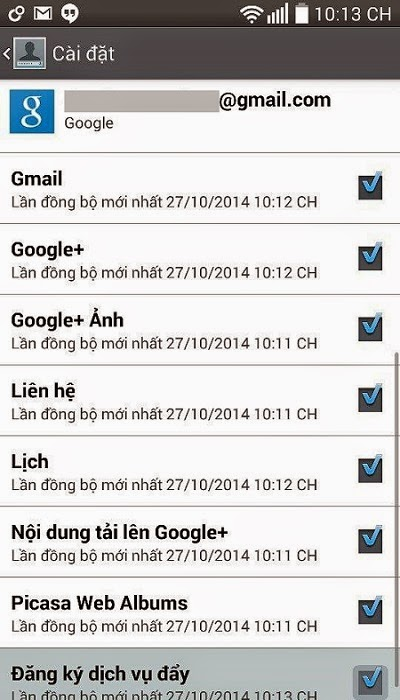 đồng bộ gmail