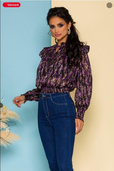 Bluza de zi lila din voal cu guler sal si accesoriu inclus