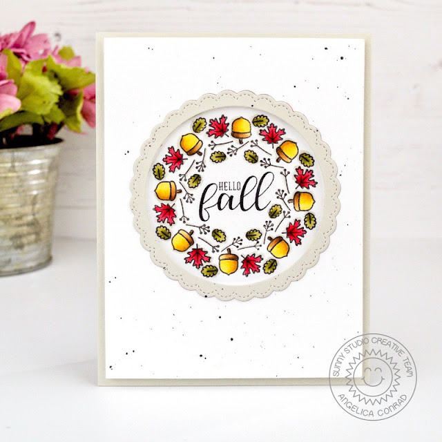 Sunny Studio Stamps: Woodsy Autumn Fancy Frames Dies Autumn Greetings Fall Themed Card by Angelica Conrad