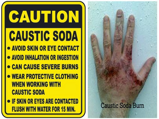 How to clean up caustic soda