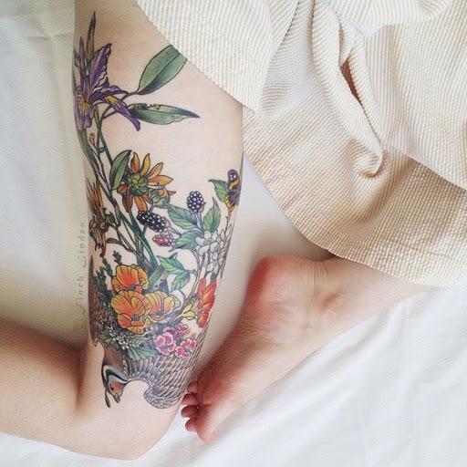 Flores embelezando a pele