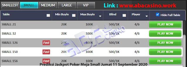 prediksi jackpot poker meja small jumat 11 september 2020