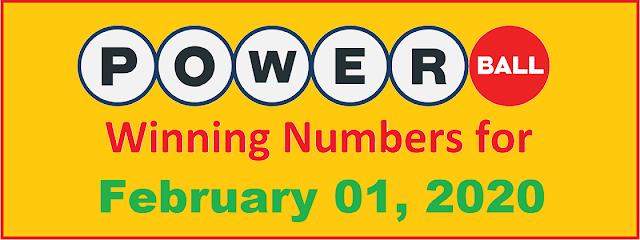 PowerBall Winning Numbers for Saturday, February 01, 2020