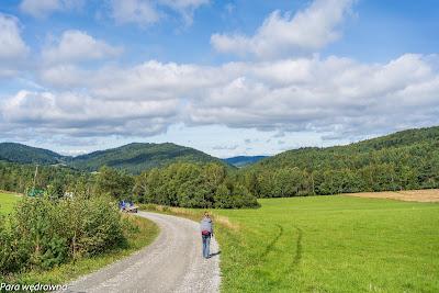 Przełęcz Hutniańska, schodzimy w dolinę potoku Ropka