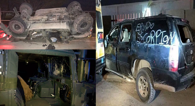 """Fotografías;  Arde Reynosa 12 muertos presumen ejecución de """"El Panilo"""" del Cártel del Golfo  hay hummer del ejército volcada y baleada y militares heridos"""