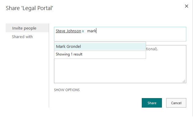 share site with users in sharepoint online