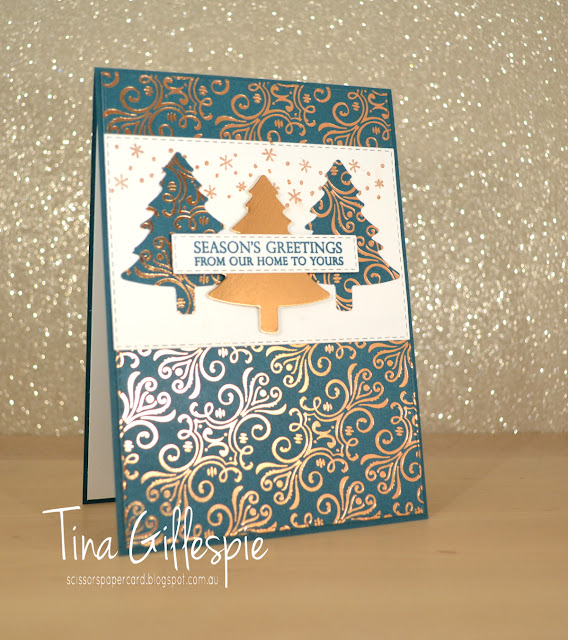 scissorspapercard, Stampin' Up!, Art With Heart, Heart Of Christmas, Merry Christmas To All, Elfie, Brightly Gleaming SDSP, Copper Foil, Pine Tree Punch, Rectangle Stitched Dies, Celestial Copper Delicata Ink