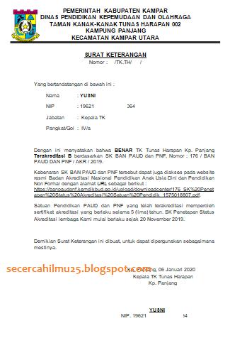 bunda PAUD serta rekan Operator Dapodik PAUD Dapodik 2021 : Contoh Format Surat Keterangan Lembaga PAUD Telah Terakreditasi 2020