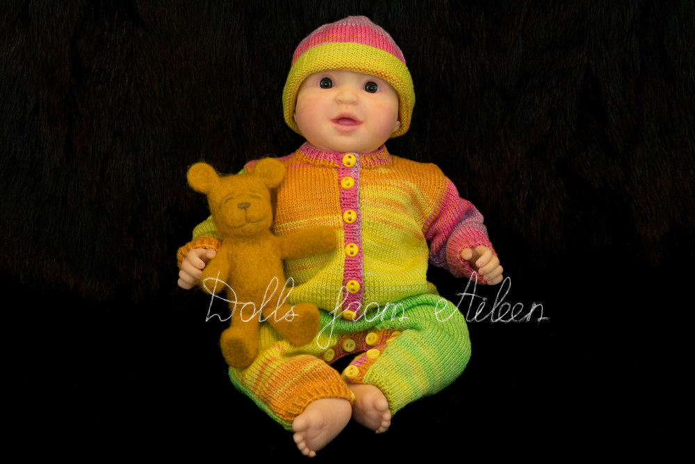 ooak posable baby doll sitting with teddy bear