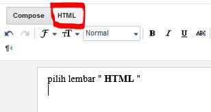 Pilih HTML, Kemudian masukkan sourcecode nya