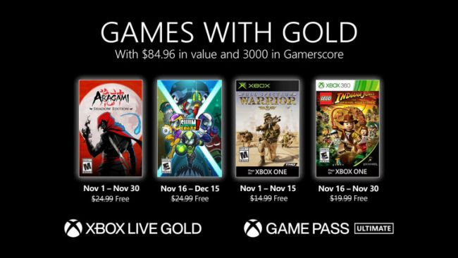 Games With Gold Revealed For November 2020