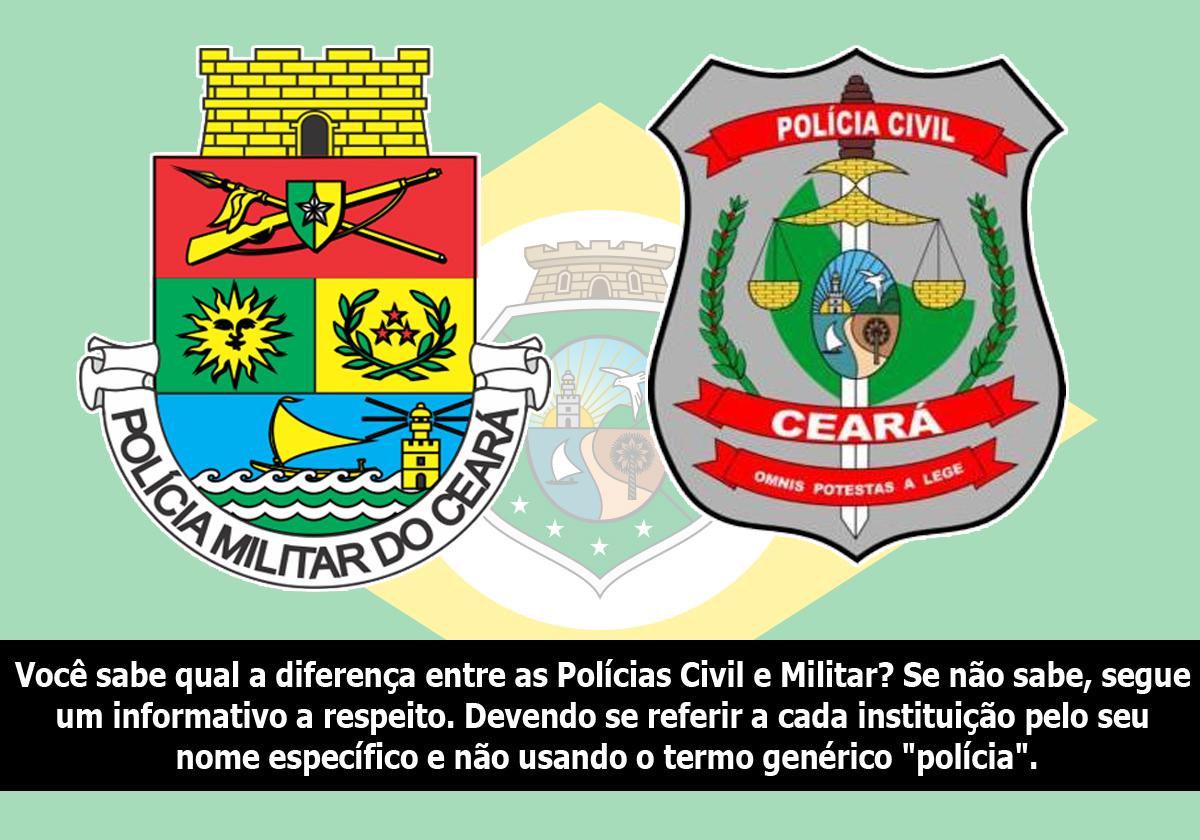 """Você sabe qual a diferença entre as Polícias Civil e Militar? Se não sabe, segue um informativo a respeito. Devendo se referir a cada instituição pelo seu nome específico e não usando o termo genérico """"polícia""""."""
