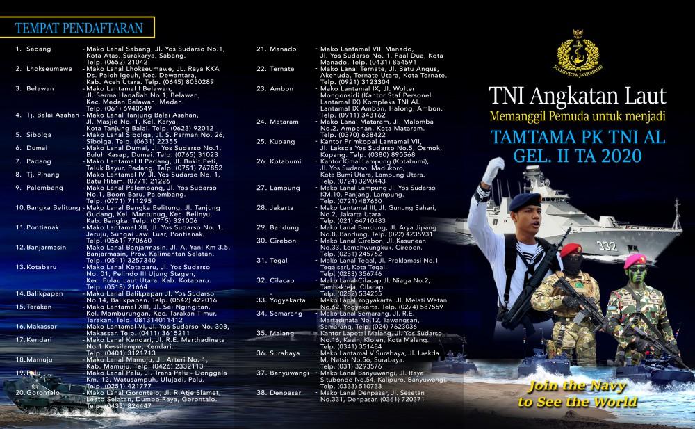 Pendaftaran Tamtama PK TNI AL Gelombang II TA 2020