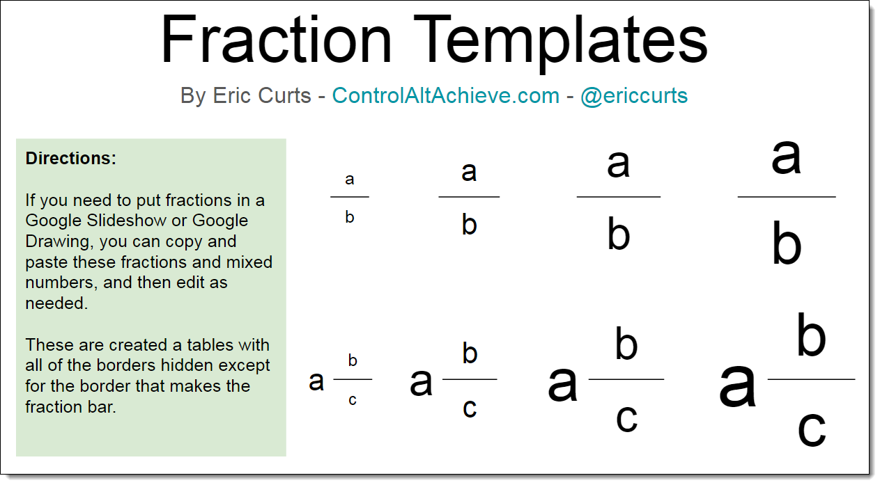 Control Alt Achieve  Creating Fractions In Google Slides
