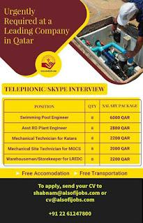 Qatar Vacancies Skype interview or Telephonic interview