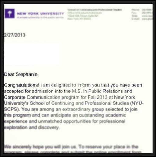 nyu acceptance letter