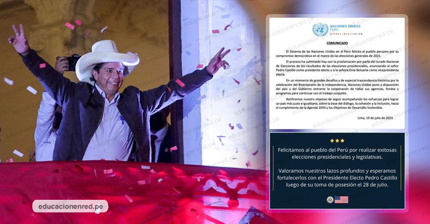 Comunidad internacional saluda proclamación de Pedro Castillo como presidente de Perú 2021-2026