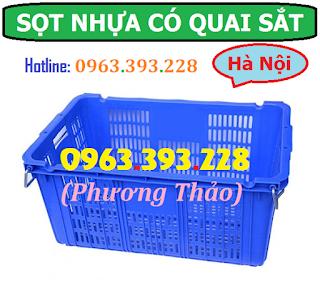 Cung cấp Sọt nhựa rỗng có quai sắt, Sọt nhựa trái cây giá tốt tại Hà Nội