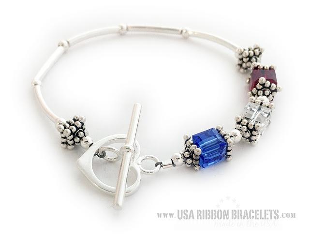 Red White & Blue Bracelet for Mom for Mother's Day