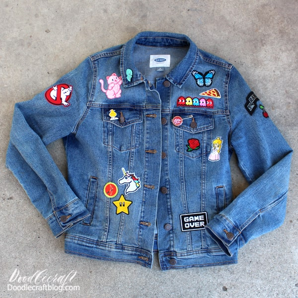 Upcycled Jean Jacket with Patches: Earth Day Craft!  Hi friends, it's me, Natalie! I love upcycled crafts. They are my favorite medium for sure. I love taking old things and giving them new life. April is the perfect month for upcycling and celebrating Earth Day! Make a fabulous statement piece by upcycling an old jean jacket with patches.   This NO-SEW jean jacket upcycle is a perfect craft for all ages and genders! Upcycle a backpack, jeans, tote, pillowcase or anything else too.