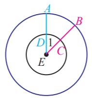 Pada gambar di samping adalah dua lingkaran yang konsentris di titik pusat E www.jawabanbukupaket.com