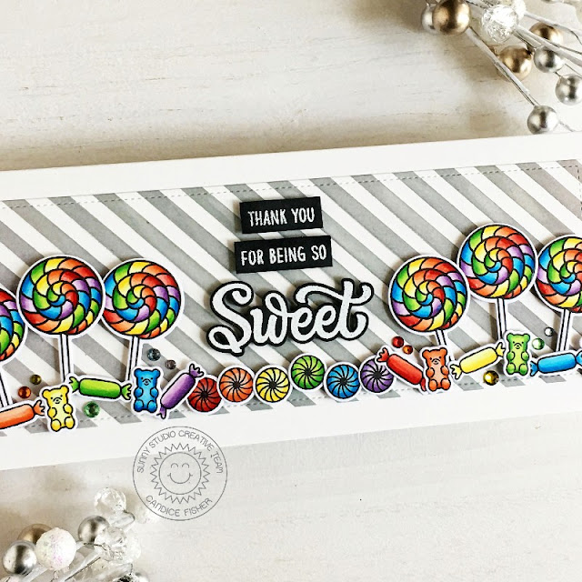 Sunny Studio Stamps: Candy Shoppe Frilly Frame Dies Slimline Dies  Candy Themed Cards by Candice Fisher